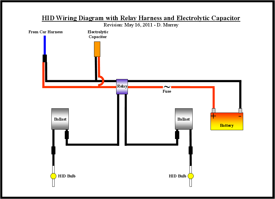 Hid Wiring Diagram With Relay Harness And Electrolytic Capacitor